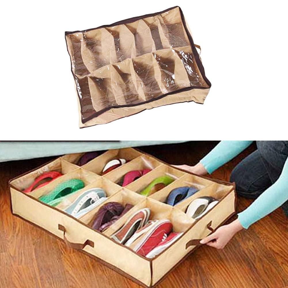 12 Pair Dustproof Shoes Storage Box Moistureproof Shoes Storage Holder  Container Closet Box Bag Under Bed Container Case Shoe Racks & Organizers   - AliExpress