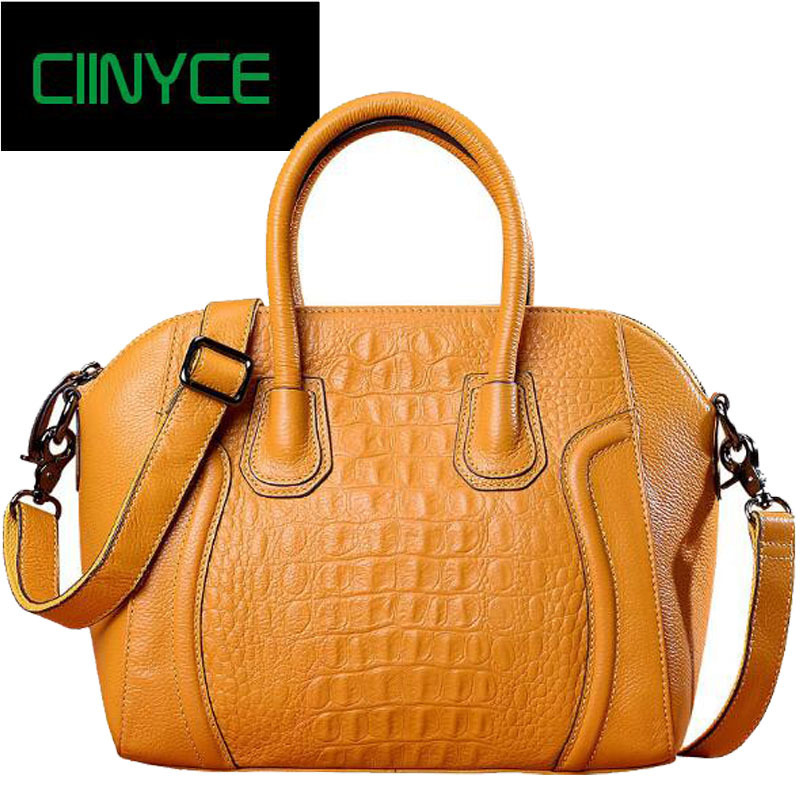 Crocodile Women Elegant Top Handle Fashion Brand Woman Designer Handbags Genuine Cow Leather Alligator Totes Female shoulder Bag elegant top handle handbags female new designer pu leather evening bag 2017 fashion high grade exquisite embroidered women totes