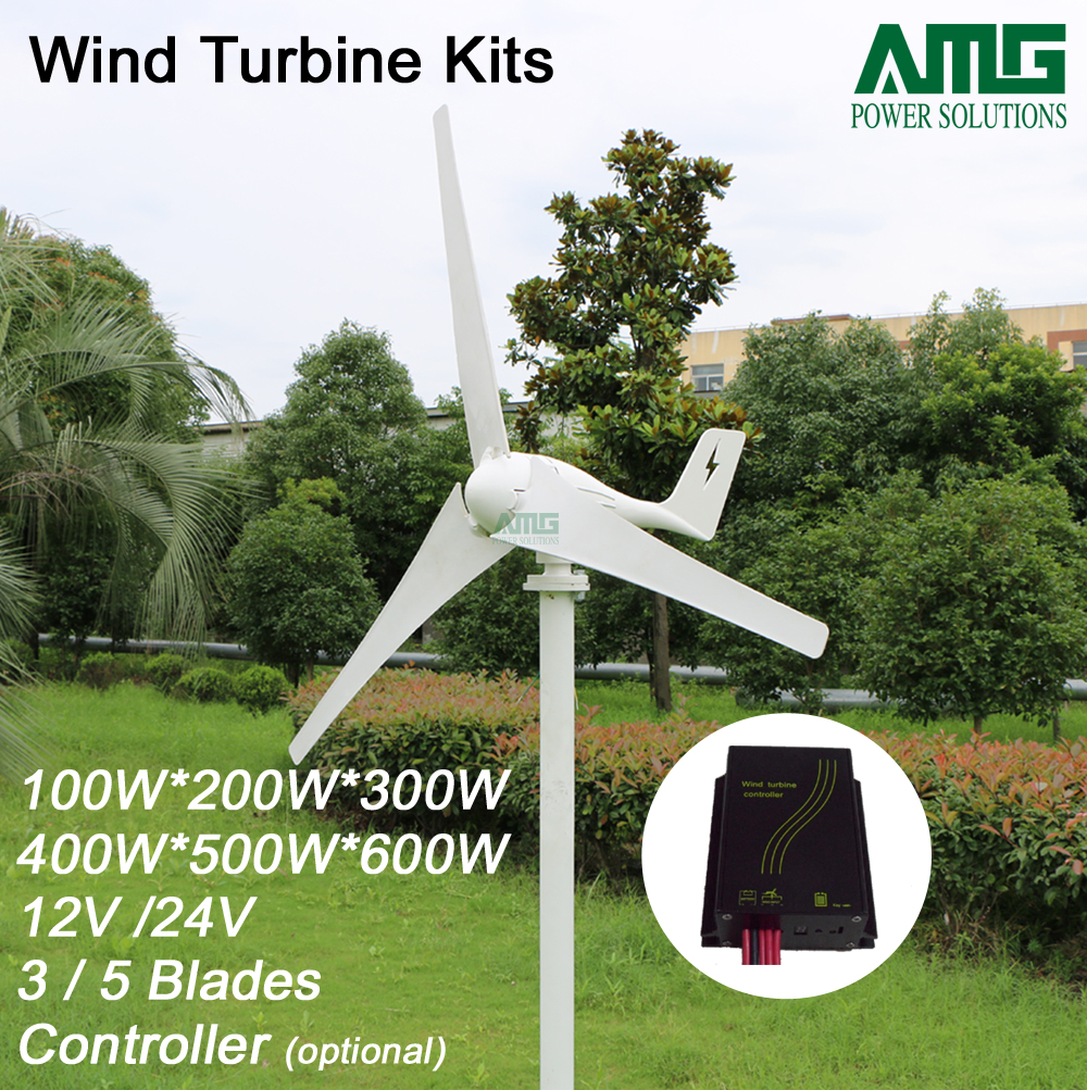 400W500W600W 12V/24V 3/5 blades home use residential low wind start up wind turbine generator + charge controller 1000w low wind start up horizontal residential wind turbine generator 3 blades 24v 48v wind turbine generator max 1100w