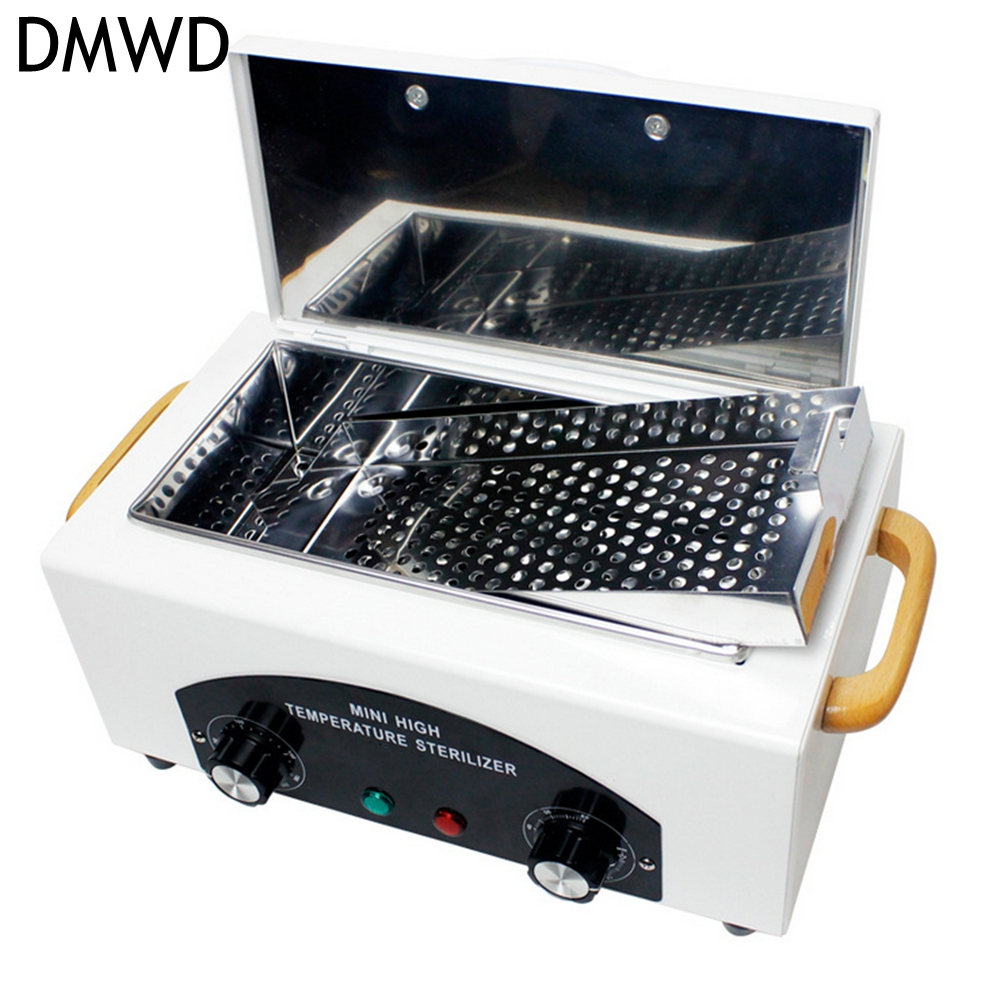 DMWD High Temperature UV Sterilizer Box Nail Art Tool with Hot Air Disinfection Cabinet For Salon Nail Art Equipment 110V/220V 12pcs sterilizer pot salon nail tattoo clean metal watches gem tool equipment ultrasonic autoclave cleaner free shipping