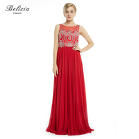 Belicia Couture Women Red Evening Dresses Chiffon Beading Sleeveless O Neck Formal Party Dresses Elegant Long