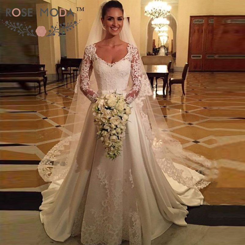 76b7c2dcbe US $279.0  Rose Moda Long Lace Sleeves Princess A Line Wedding Dress  Vintage Lace Bridal Dress 2019-in Wedding Dresses from Weddings & Events on  ...