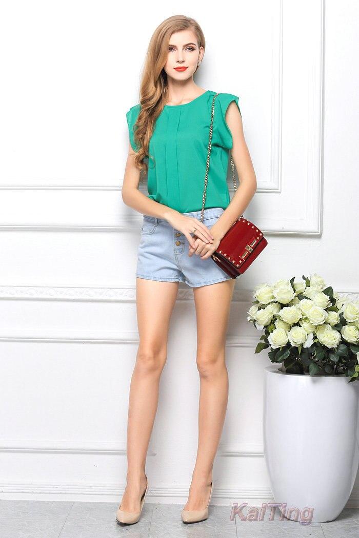 HTB1UBPYGFXXXXXBXXXXq6xXFXXXQ - Short Butterfly Sleeve Women Blouses Clothing Casual Chiffon Shirt