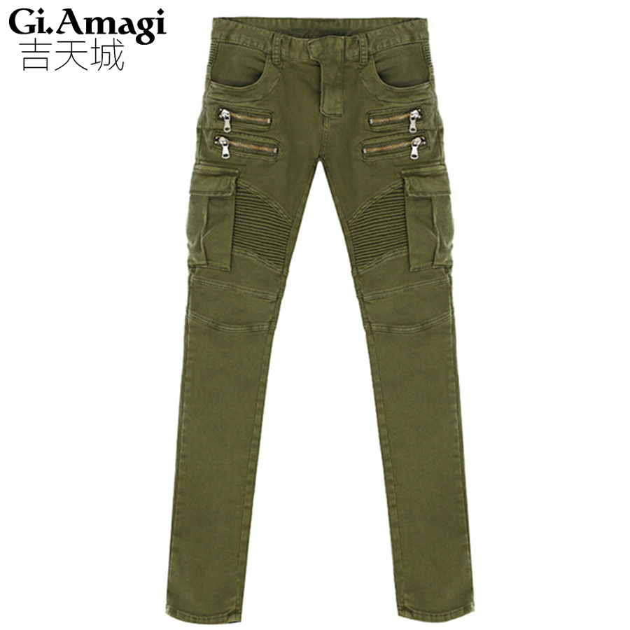 Trend folds stretch jeans feet Mens Cargo Pants Army Green Casual Pants Cotton Trousers For Men pants trousers
