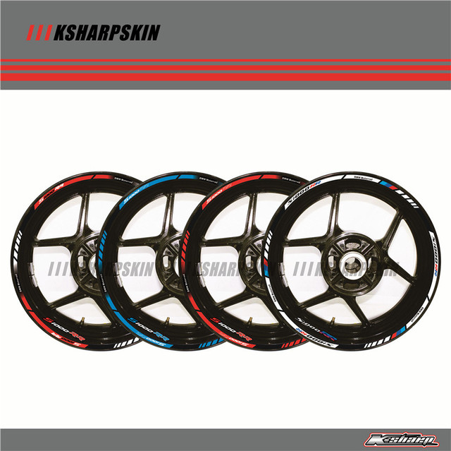 12 X Thick Edge Outer Rim Sticker Stripe Wheel Decals FIT BMW S1000RR 17''