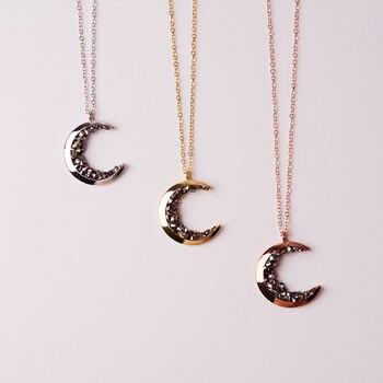 f1f9fd00cb5b Delicado Kolye colgante collar lleno de oro media luna Luna y Negro CZ  collar de Gargantilla