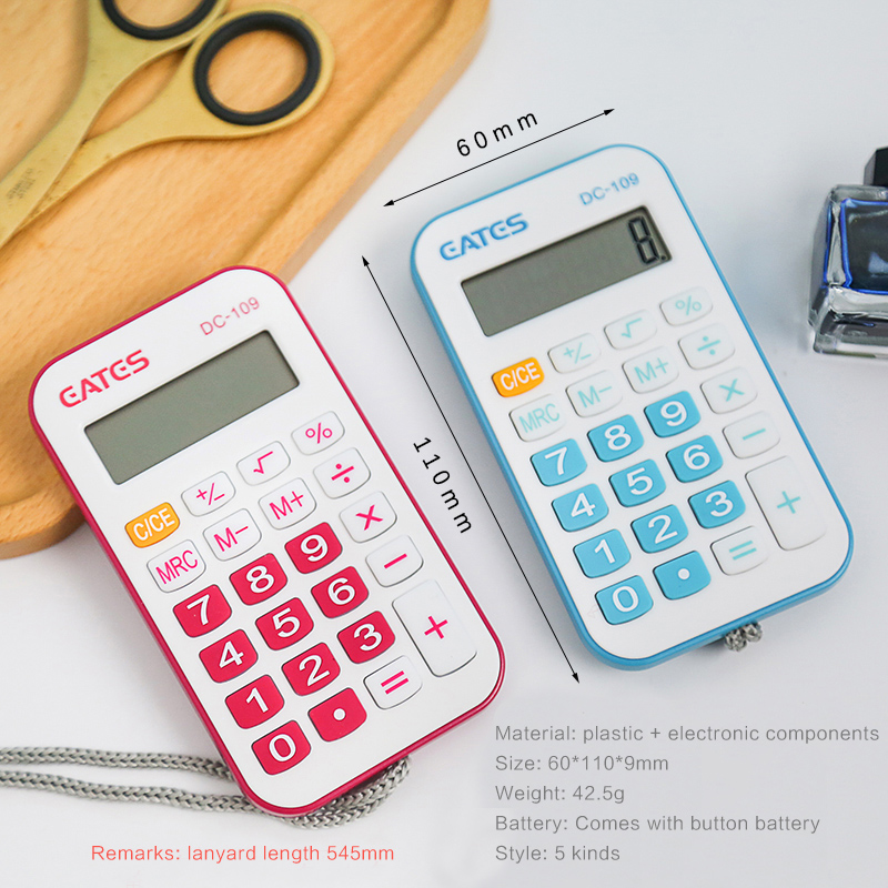 Mini Portable 8-bit Calculator Button Battery School Exam  Carry Lanyard Calculator Student Stationery Kawaii