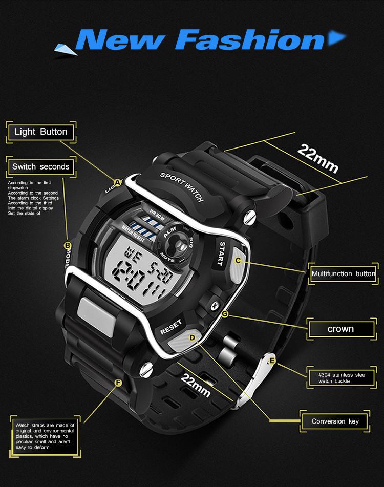 sanda luxury brand led digital watches fashion men\'s sports wristwatches drop shipping (30)