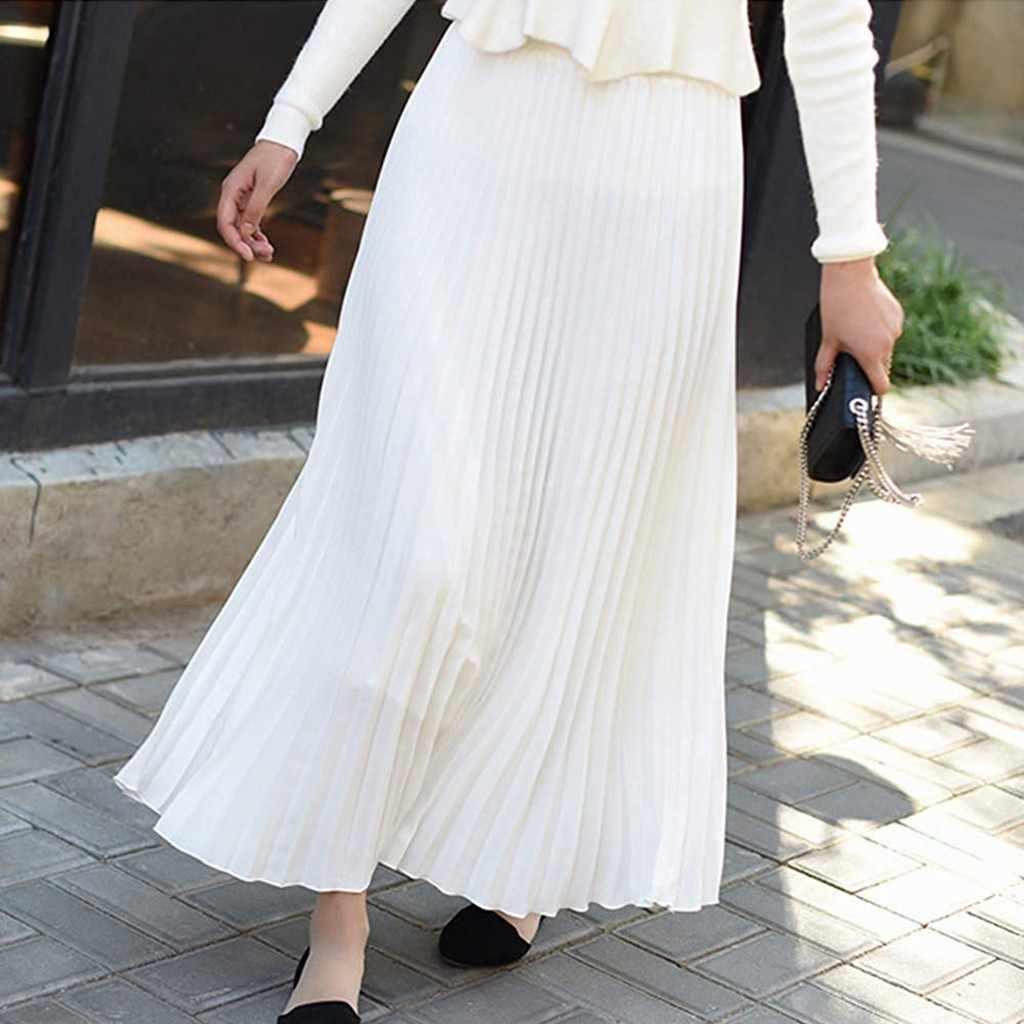 Фото 2019 весенние женские длинные юбки модные Женские однотонные Плиссированные Миди