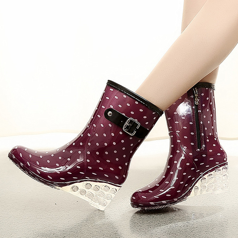 Sweet waterproof rain boots women autumn/spring wedges buckle mid-calf boots plus size 36-40 gingham PVC rain shoes double buckle cross straps mid calf boots