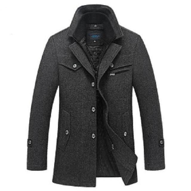 Inverno Casaco de Lã Dos Homens Slim Fit Jaquetas de Moda Mens Casual Casacos Quente Jaqueta Casaco de Ervilha Casaco Plus Size XXXL 4XL