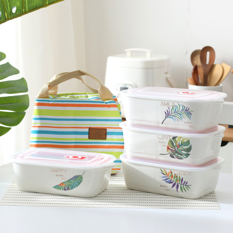 Ceramic Bento Box: Worthbuy Ceramic Containers With 3 Compartments With Lid