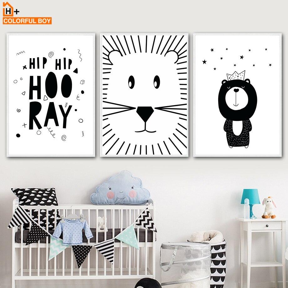Black White Wall Art Canvas Poster Nursery Print Nordic Kid Room Decoration