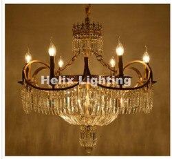 Gratis Verzending Antieke Kroonluchter Bronskleur D74cm Kristallen Kroonluchter Lamp Kristal Lustre Lichtpunt Villa Cristal Verlichting