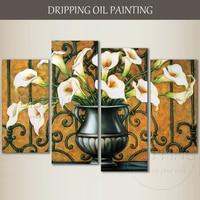 Художник Ручная роспись высокое качество модульная цветочным маслом на холсте картина группа красивые модульная цветы живопись маслом