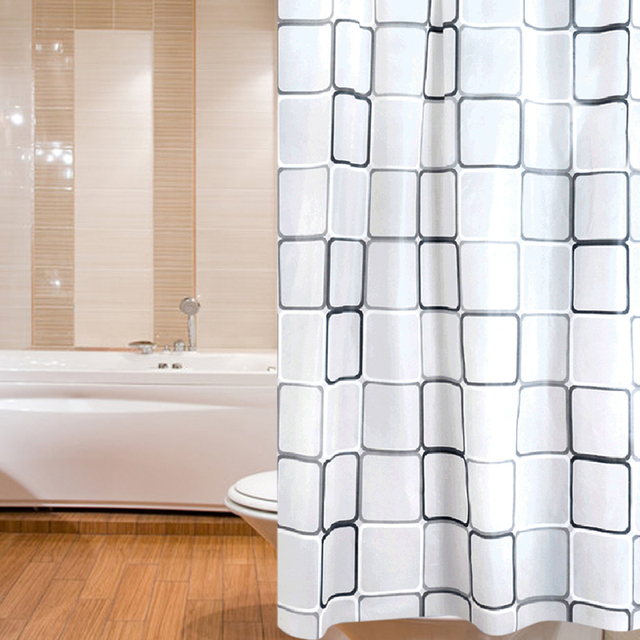180 X 200 Cm Polyester Fabric Bath Shower Curtain White With Rings Waterproof Curtains