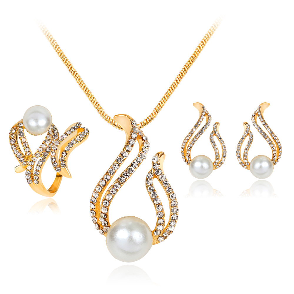 Simple Fashion Simulated-pearl wedding jewelry sets parure bijoux mariage jewelry Necklace Earrings Rings Sets brides schmuck 1
