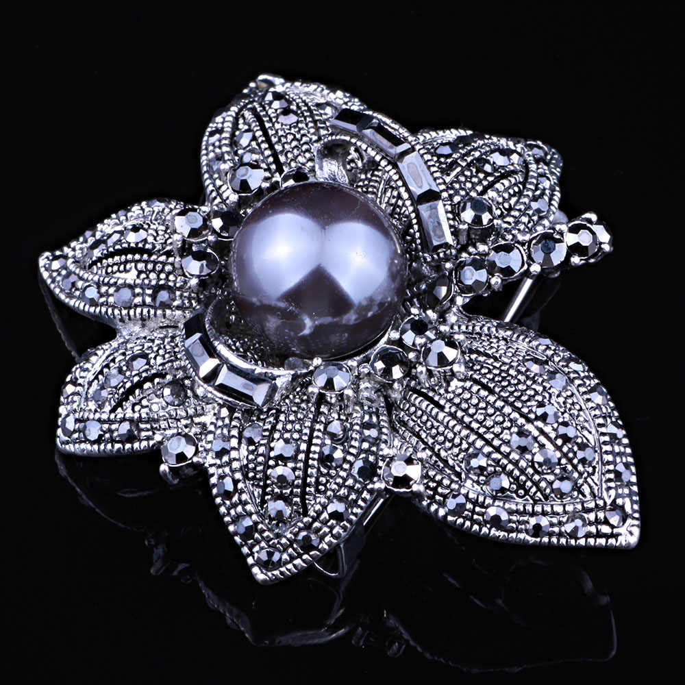 a5e9516d3c FAELENA Jewelry Vintage Style Double Imitation Pearl Flower Brooch Elegant  Black Rhinestones Brooches and Pins for Women