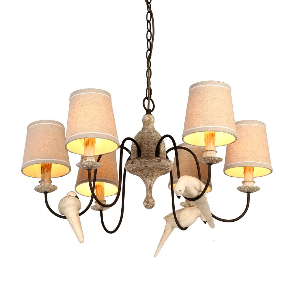 Bird wooden chandelier rustic lighting european home decor 6/8/12/14 candle chain chandelier lights fabric shade resin bird
