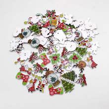 20 или 50 шт./лот, разноцветные пуговицы в рождественском стиле, деревянные кнопки для рукоделия, принадлежности для скрапбукинга, Швейные аксессуары