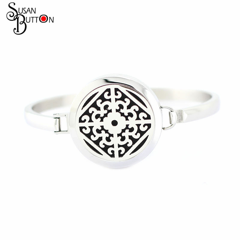 2016 Newest 10pcs Magnetic Silver Round Stainless Steel Aromatherapy / Essential Oils Diffuser Locket Bracelet Bangle Jewlery
