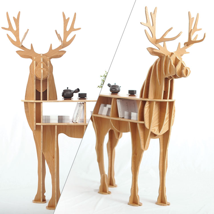 Wooden Deer home decor coffee table KING II self-built puzzle furniture 49 height wooden horse home decor shelf bookcase coffee table diy self build living room puzzle furniture free shipping