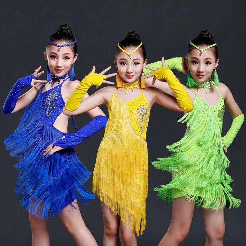 Professional Latin Dance Dress For Girls Competition Costumes Kids Samba Ballroom Salsa Fringe Dress Sequined Dancing Dresses