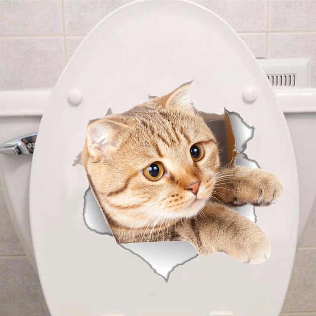 Vinyl waterproof Cat 3D Wall Sticker Hole