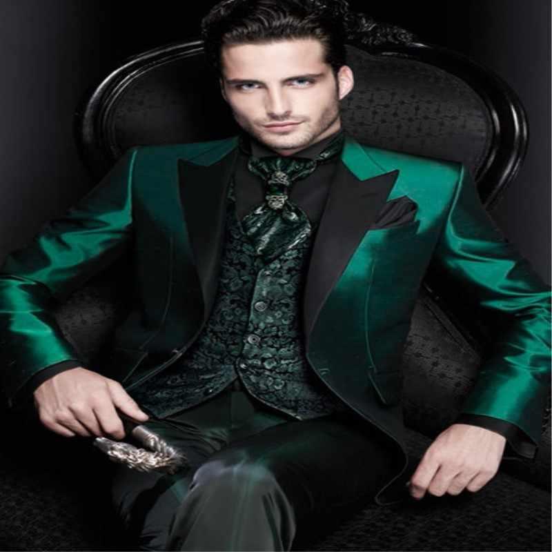 最新コートパンツデザイングリーンサテンイタリア男性のスーツスリムフィット照明ウエディングブレザーカスタムタキシード2ピースジャケット+パンツterno