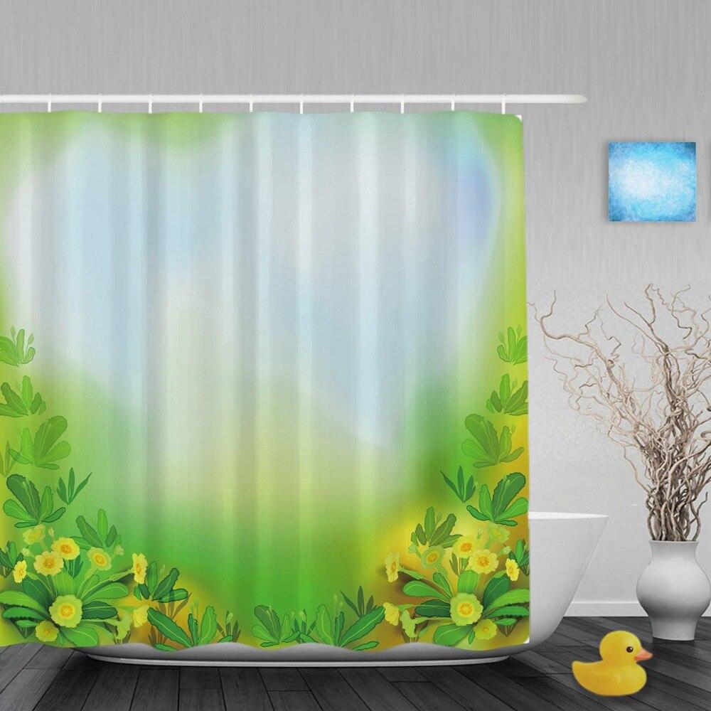 Ink Art Beautiful Spring Daisy Flowers Bathroom Shower Curtains Love Heart Shower  Curtain Waterproof Polyester Fabric