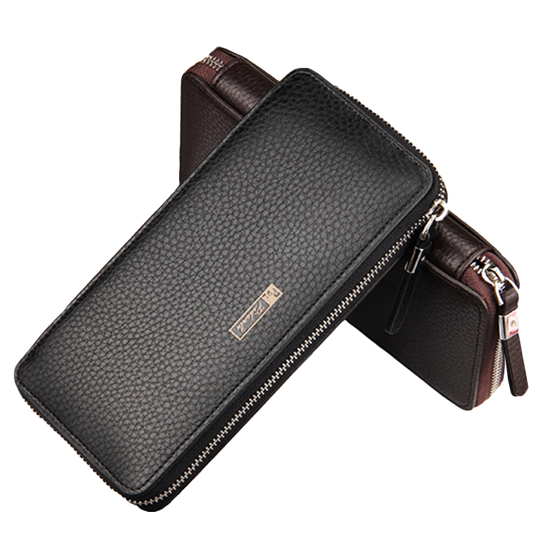 Luxury Leather Men Wallets Large Zipper Clutch Purse Male Coin Pocket Money Phone Bag Mens Card Holder Wallet carteira masculina levelive mens genuine leather hasp zipper wallets men real cowhide wallet coin pocket card holder male purse carteira masculina