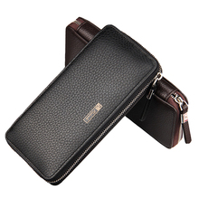 Luxury Purse for Men Clutch Male Leather Wallets Business Card Holder Passport Cover Bag cartera hombre con monedero portfel