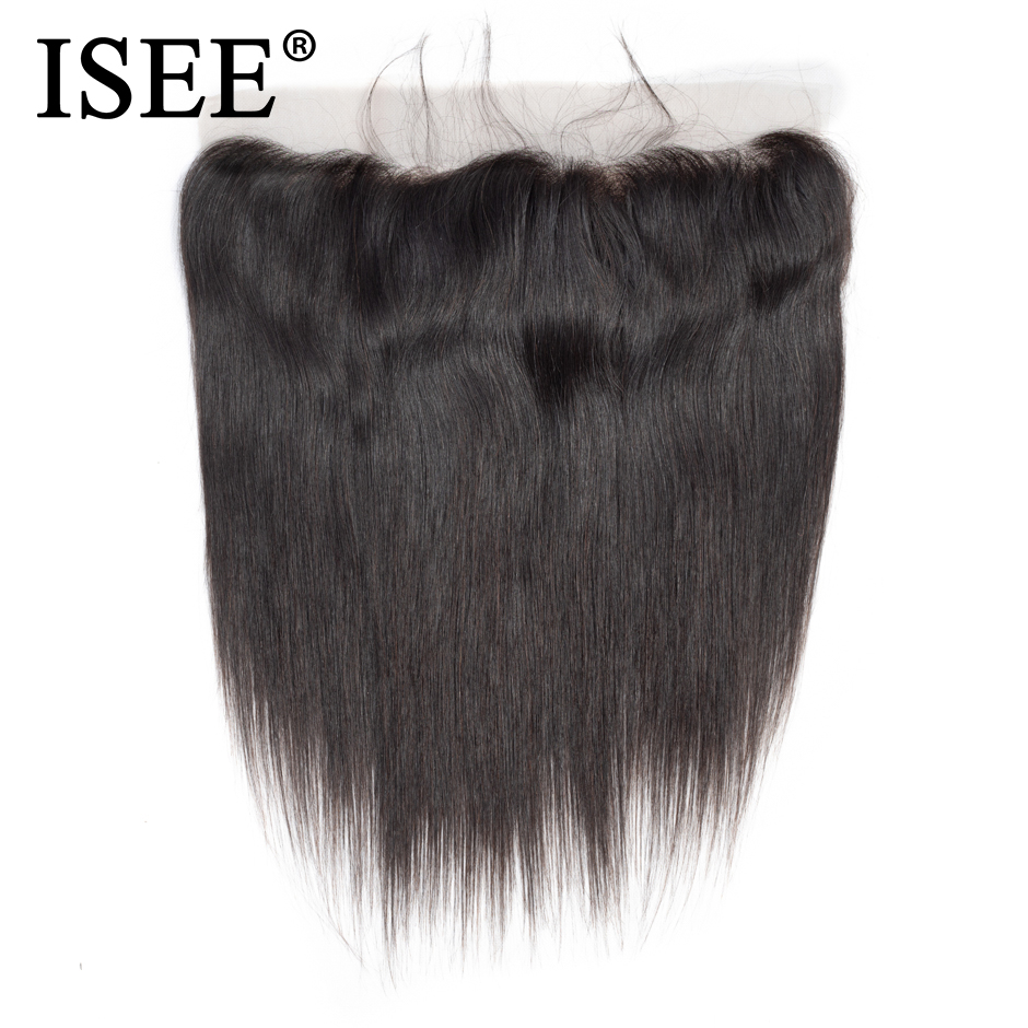 ISEE HAIR Malaysisk Straight Hair Frontal Lace Closure 13 * 4 öron - Mänskligt hår (svart) - Foto 2