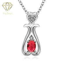 Silver Plated Jewelry Rose Flower Heart Love Bottle Pendant Necklace Red Royal Blue Zircon Chain Necklace
