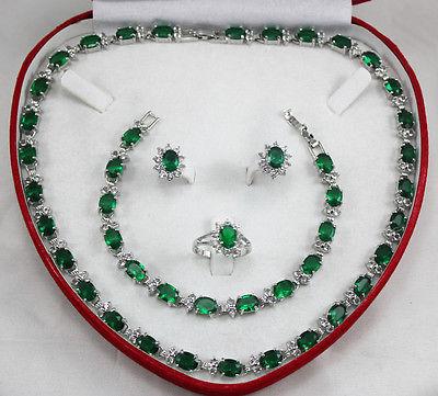 Noblesse exquise fantaisie bijoux choker charmant cristal anneau collier boucles d'oreilles Bracelet bijoux ensemble argent crochet