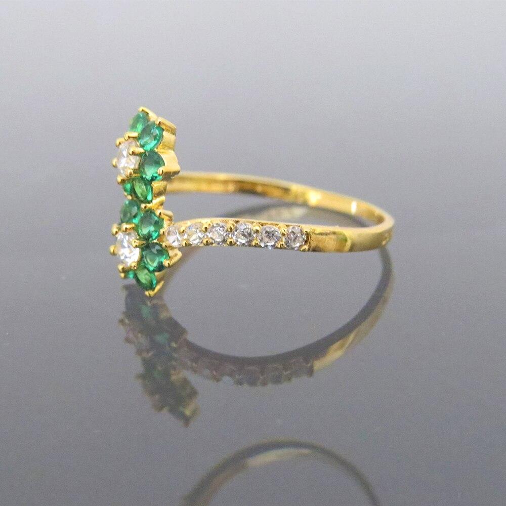 Прекрасный 14 К желтого золота 0.4CTW 1,5 мм Supre белый Moissanite & Tsavorite скручивающий браслет обручальное кольцо для женщин - 2