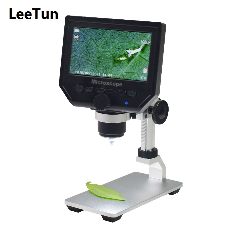 600X Zoom 3.6MP USB Digital Microscope with Aluminum Alloy Base 4.3 Inches LCD Display for PCB Inspection Mobile Phone Repairing 1 600x 3 6mp usb digital microscope portable g600 continuous magnifier with 4 3inch hd oled display for pcb motherboard repair