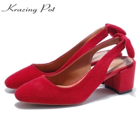 2017 Krazing Pot Less Is More Kid Suede Slingback Bowtie Square Toe High Heels Women Sandals