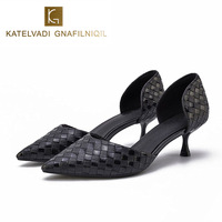 Autumn Work Shoes Women Pumps Stiletto Black PU Leather Med Heels Ladies Shoes Sexy Pointed Toe Office Shoes Small Size K 192