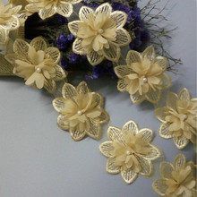 Soluble Gold Chiffon Pearl Flower Embroidered Lace Trim Fabric Ribbon Handmade DIY Sewing Craft For Costume Hat Decoration