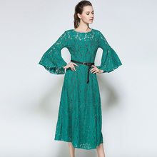 Willstage Green Lace dress Two Pieces Women Flare Sleeve Sexy hollow out  Mid dresses With belt babc389d4