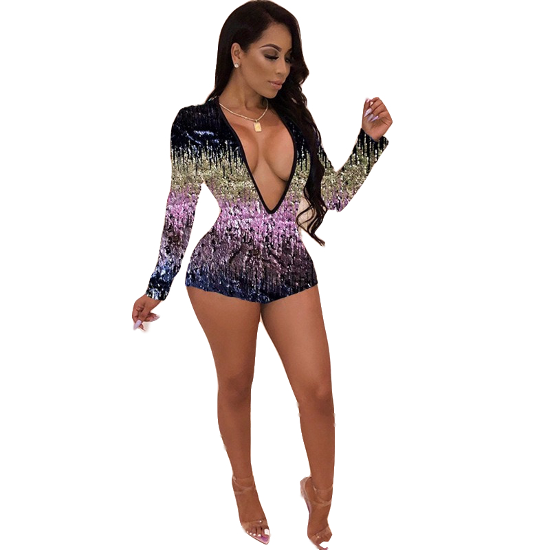 Adogirl Colorful Sequins Deep V Neck Playsuit Women Sexy Sheath Long Sleeve Night Club Party Jumpsuit Casual Overalls Rompers 9
