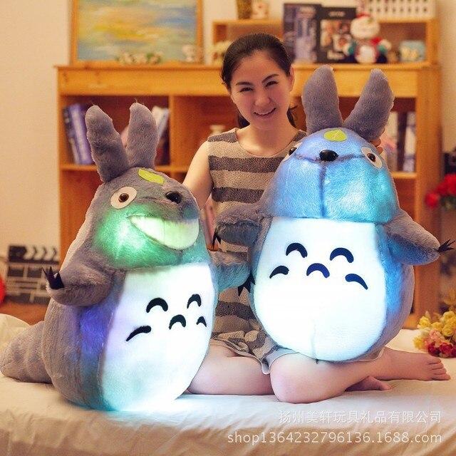 Big 50 cm Colorido Led Pillow Incandescência Totoro Boneca De Pelúcia Luminosa brinquedos de Presente de Aniversário Para A Menina de Alta Qualidade Levou Totoro Animal boneca