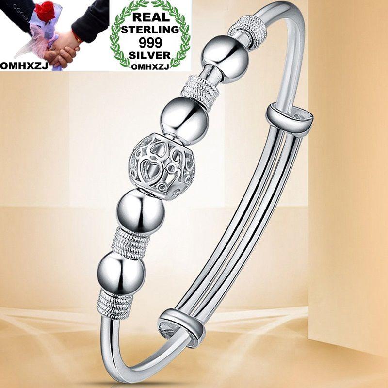 OMHXZJ Wholesale European Fashion Woman Girl Party Wedding Gift Lucky Beads S999 Sterling Silver Cuff Bangle BA04