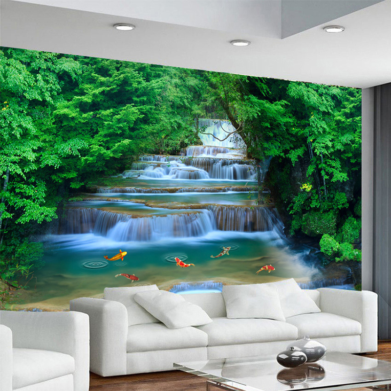 Us 8 92 53 Off Hd Waterfall Running Water Goldfish Photo Mural Wallpaper Chinese Style Nature Landscape Wall Painting Interior Decor Wall Paper In