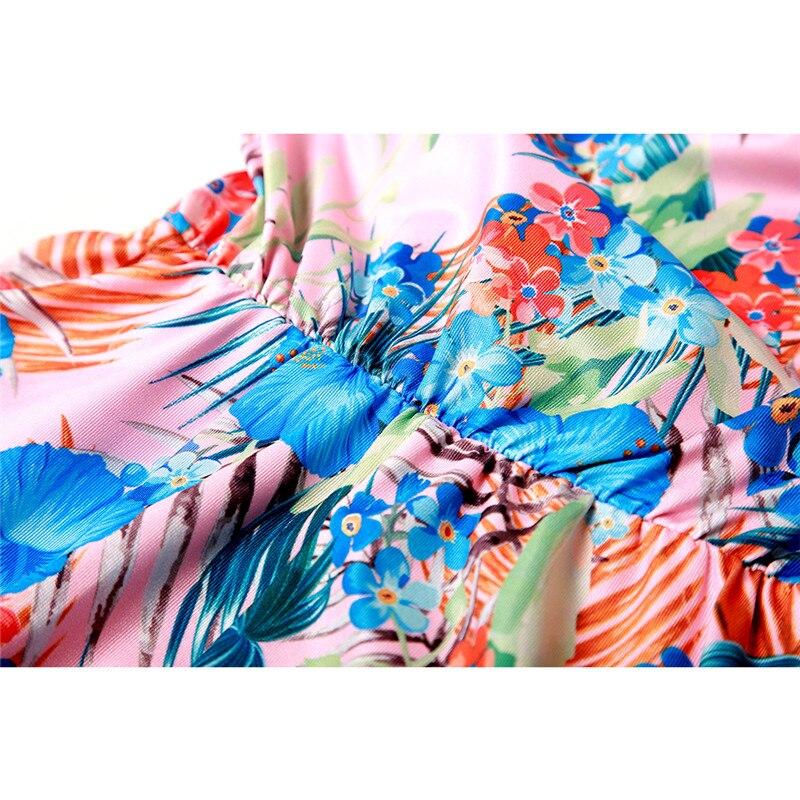 Mother-Daughter-Dresses-Half-Sleeve-V-neck-Mini-Dress-Mother-and-Daughter-Clothes-Spring-Leaf-Flowers (5)