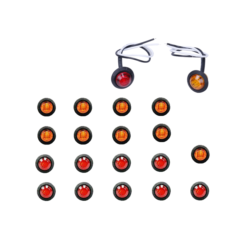 "20Pcs 3/4"" Round Side 3 Led Marker Trailer Car Bullet Light Waterproof Red Amber Side Indicator Warning Lights Super Mini(China)"