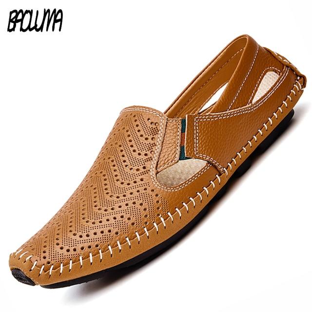 185102f39 Sandálias Sapatos de Grife de Luxo 2018 Sandálias de Couro dos homens  Casual Slip-on