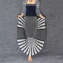 Ücretsiz Kargo Yüksek Kalite 2019 Yeni Moda Ince Kalın Örme Kış Etekler Kadınlar Için Çizgili Belli Uzun Maxi Bayanlar Etekler