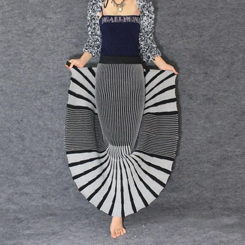 Kadın Giyim'ten Etekler'de Ücretsiz Kargo Yüksek Kalite 2019 Yeni Moda Ince Kalın Örme Kış Etekler Kadınlar Için Çizgili Belli Uzun Maxi Bayanlar Etekler'da  Grup 1
